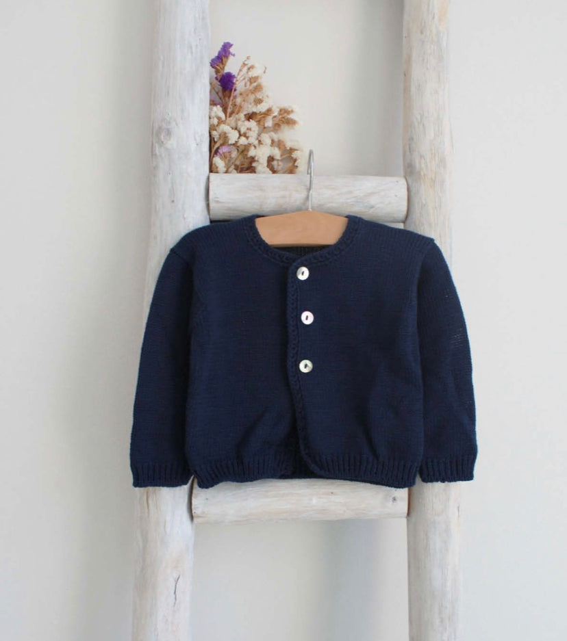 Cotton Cardigan in navy blue