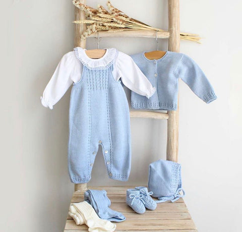 Hand knitted overall in blue