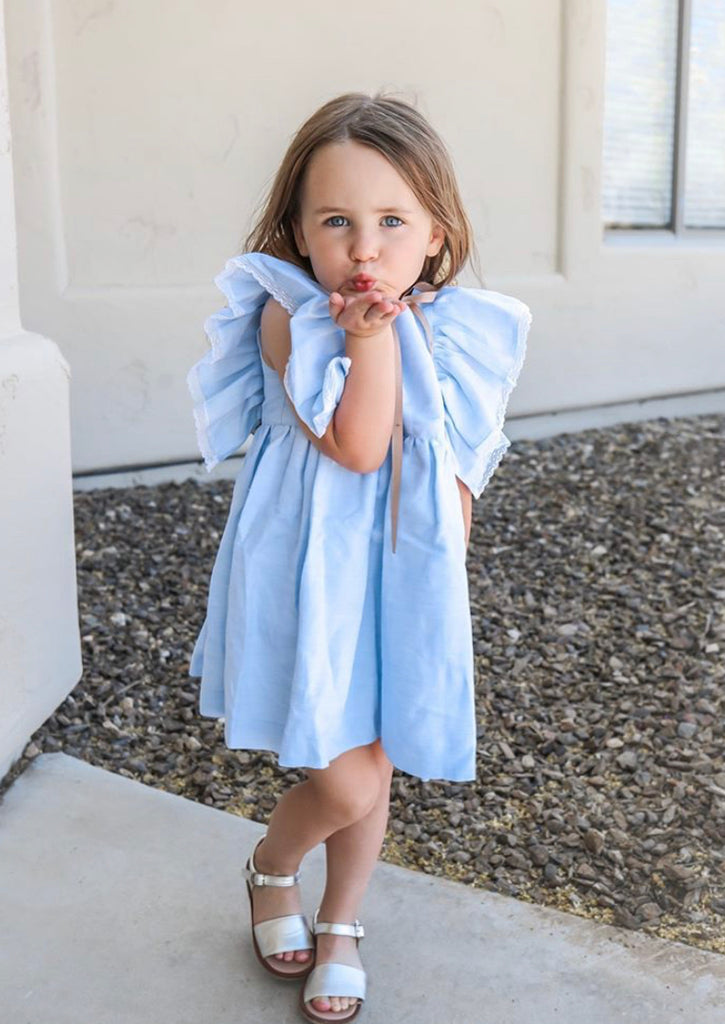 Lucy linen blue dress with lace