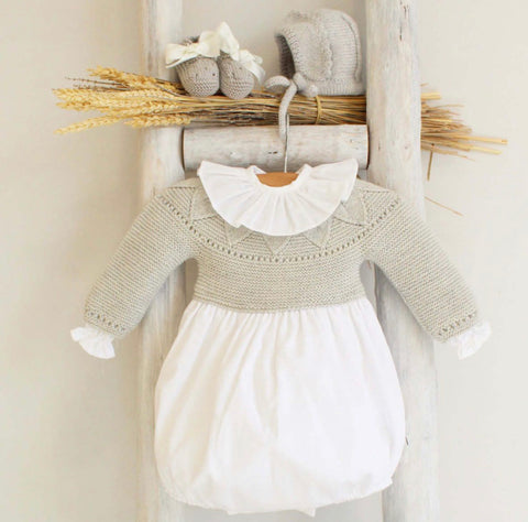 Grey knitted romper