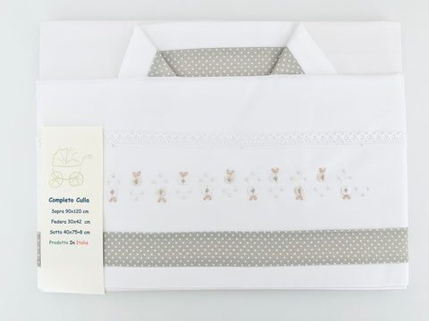 Rosebud Bed Linen set - taupe/cream
