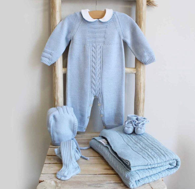 Knitted overall in blue