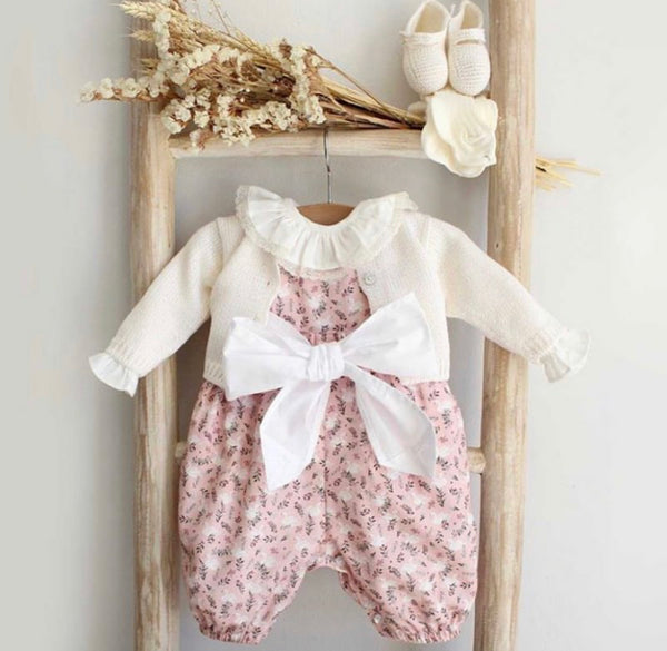 Bow floral and swan overalls pink