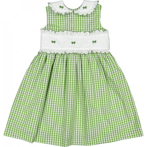 Grass embroidered bow dress
