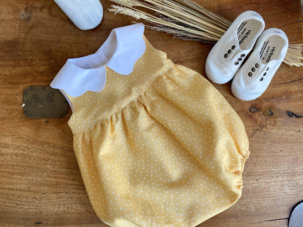 Yellow linen romper