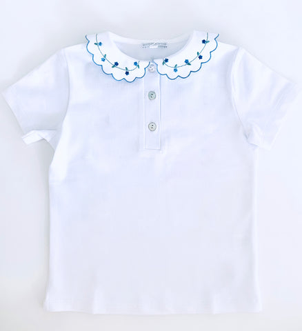 T-shirt short sleeves- Blue flowers
