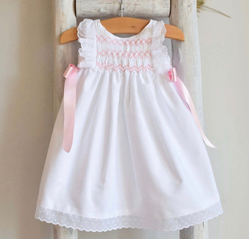 White celebration dress with smocking