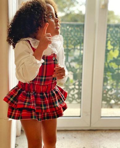Tartan frilly shorts with straps