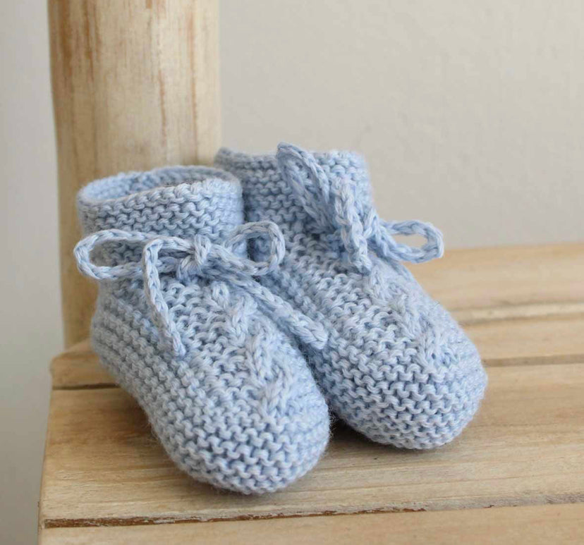 Knitted booties in blue