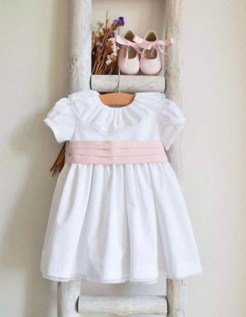 Anna dress in white with pink sash