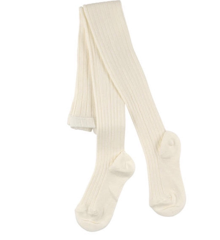 Cream ribbed knit tights