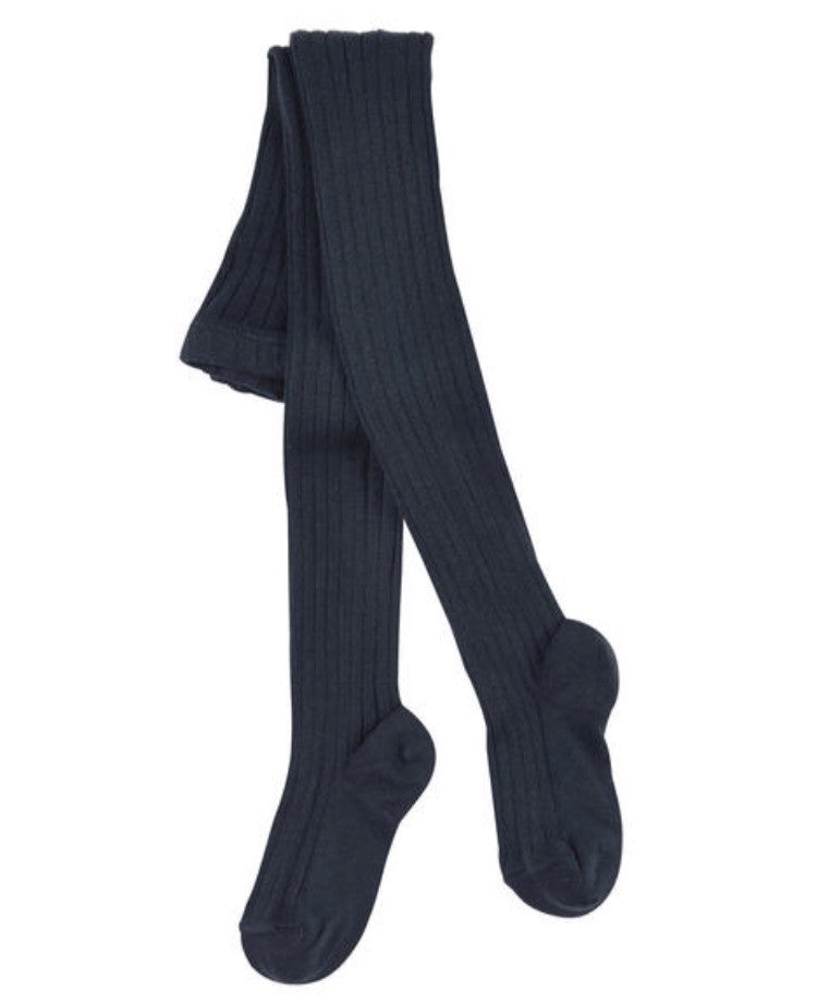 Navy blue ribbed knit tights