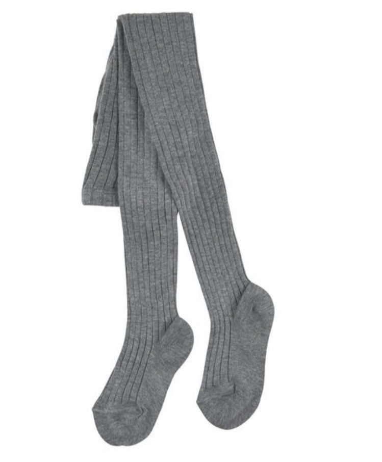Light grey ribbed knit tights