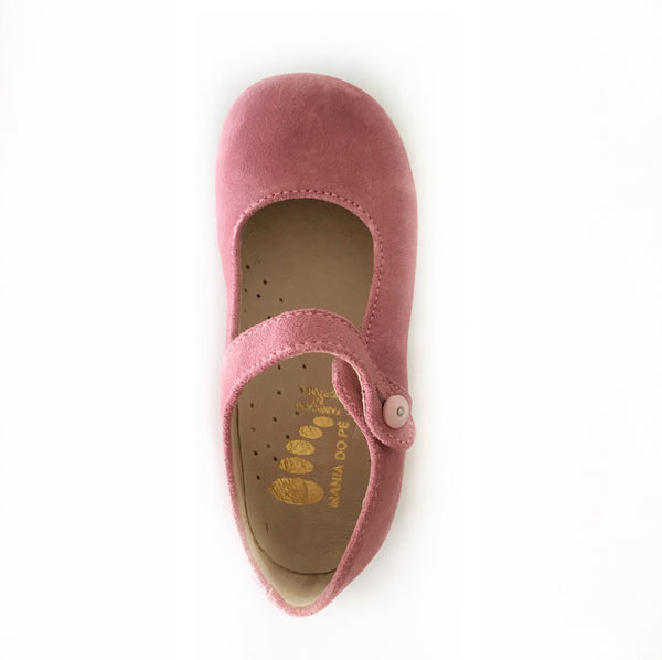 Dusky pink suede leather Mary Janes