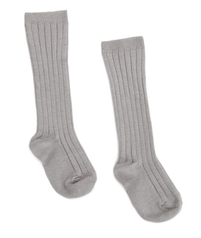 Alluminium grey ribbed knit high knee socks
