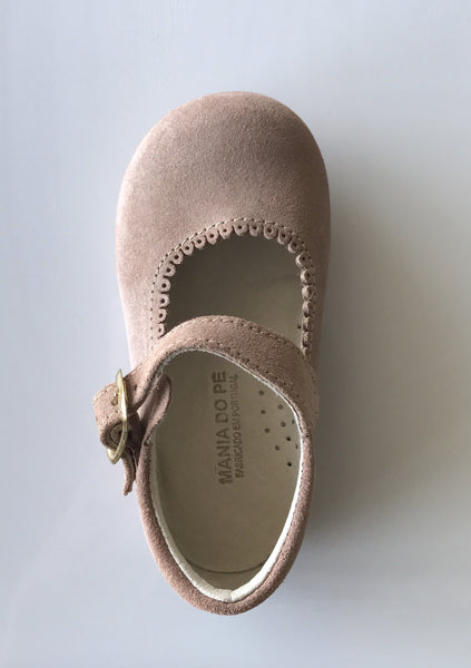 Tan suede leather mini Mary Jane shoes