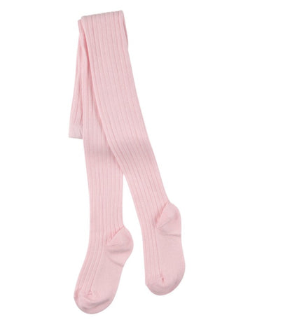Baby pink ribbed knit tights