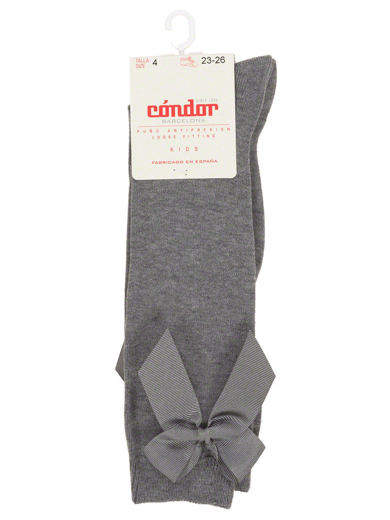 Grey high knee socks with bow