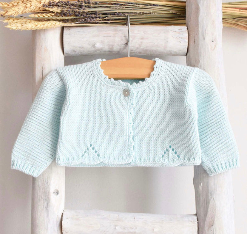 Knitted bolero cardigan in mint green
