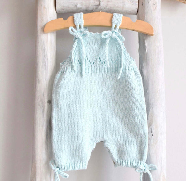 Knitted romper in mint green
