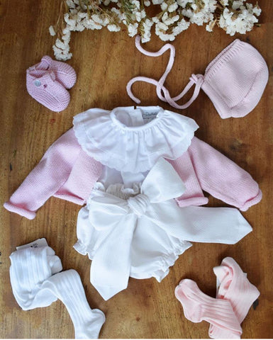 White Bow nappy cover