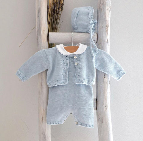 Blue organic cotton romper