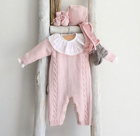 Pink knitted overall