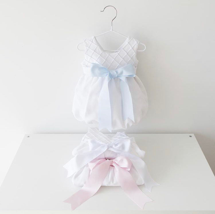White piquet romper with ribbon bow