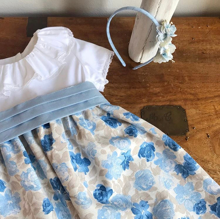 Grace flower dress in blue and cream