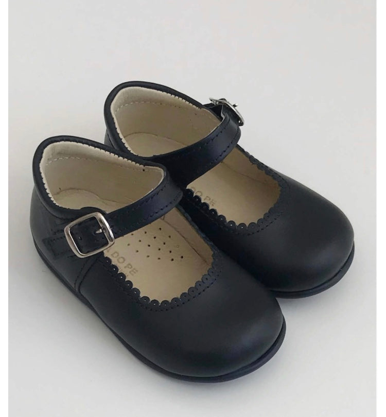 Navy blue leather mini Mary Janes