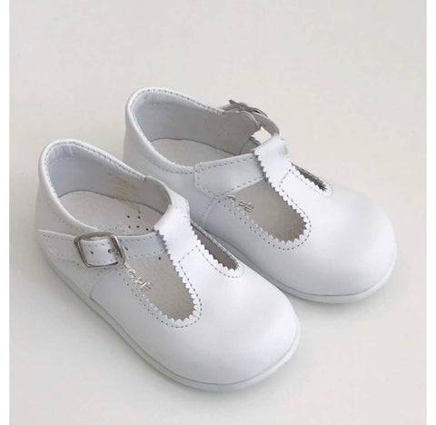 T-bar white leather shoes