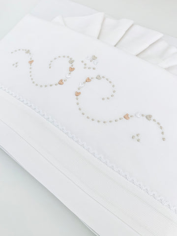 Cream hearts Bed Linen set