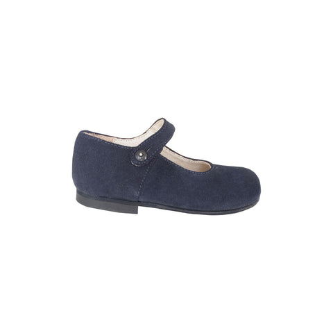 Navy blue suede leather Mary Janes