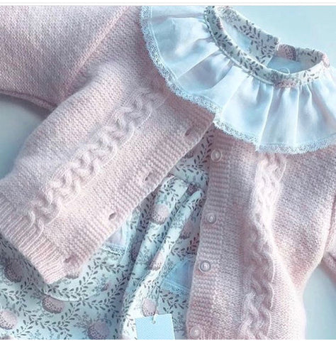 Light pink braided knitted cardigan