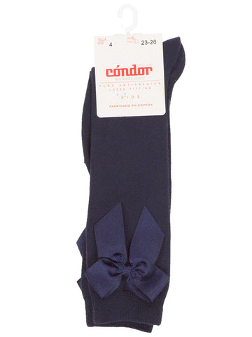 Navy Blue high-knee socks with bow