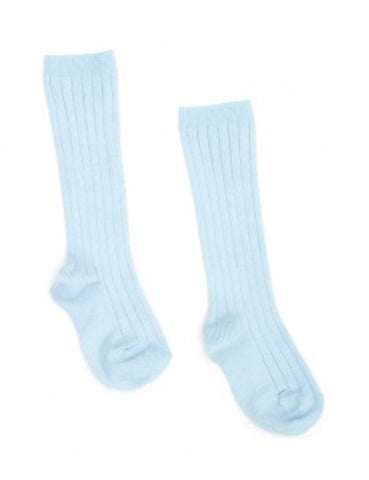 Baby blue ribbed knit high knee socks