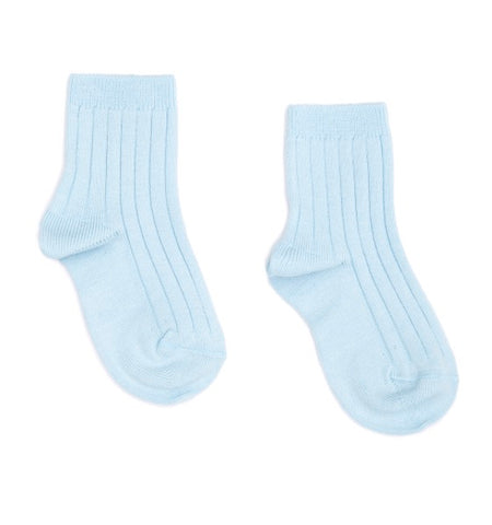 Ribbed short socks - baby blue