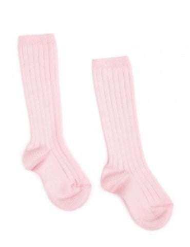 Baby pink ribbed knit high knee socks