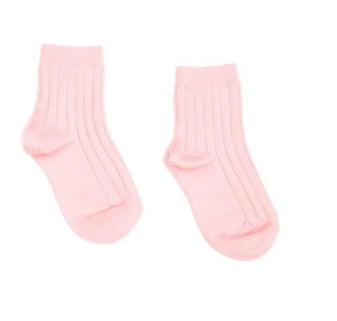Ribbed short socks -pink
