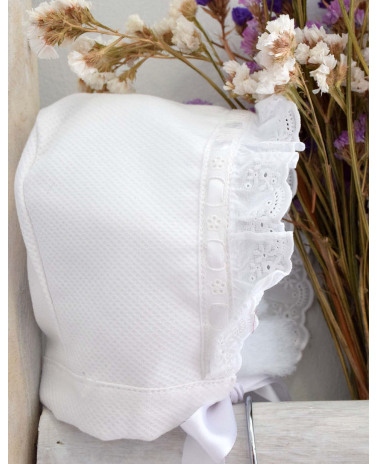 White bonnet with broderie anglaise