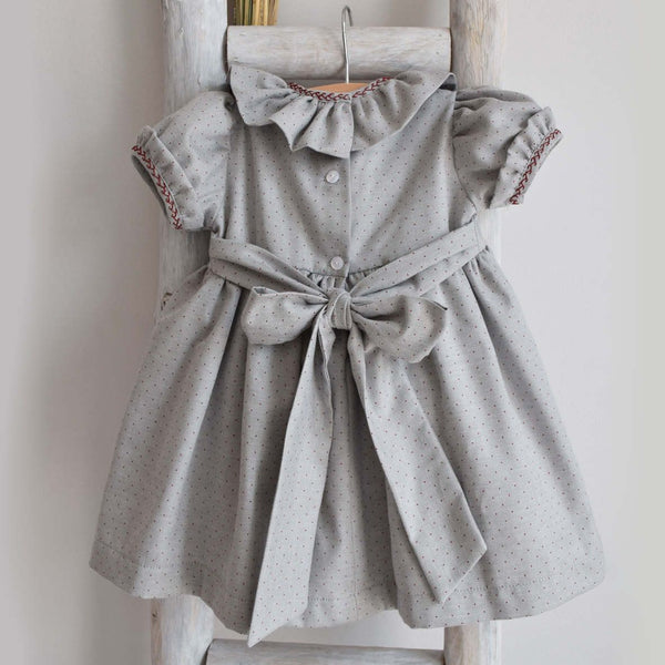 Alexandra dress in grey and burgundy