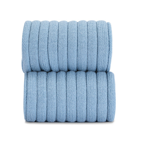 Blue nube ribbed knit high knee socks