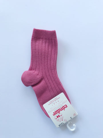 Ribbed short socks- carmine