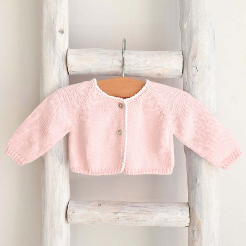 Knitted bolero cardigan in white and pink