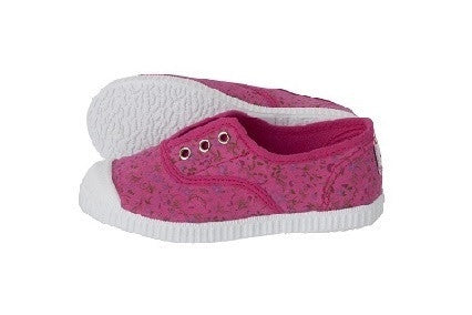 Slip on canvas shoes - floral fuchsia