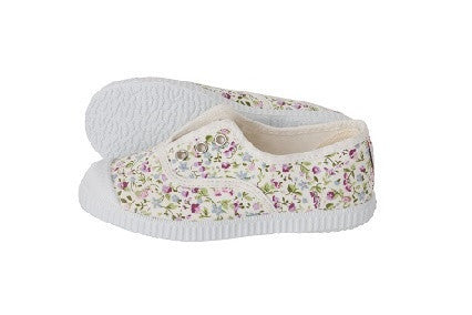 Slip on canvas shoes -floral white