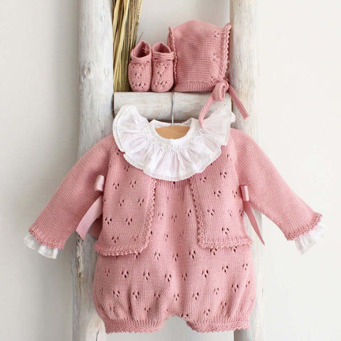 Dusty pink cardigan with bows