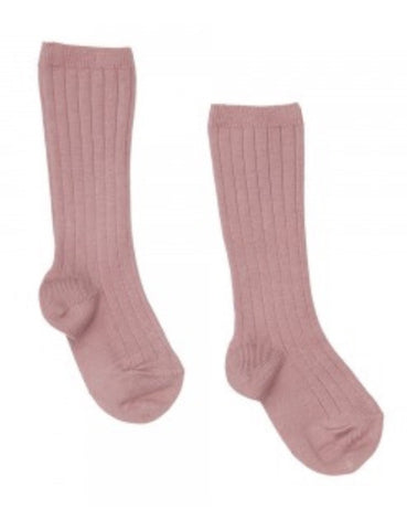 Dusty pink ribbed knit high knee socks