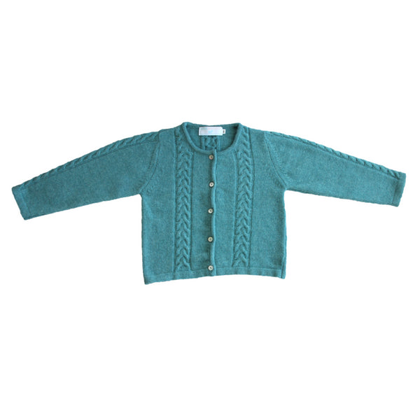 Exotic green cable knit cardigan