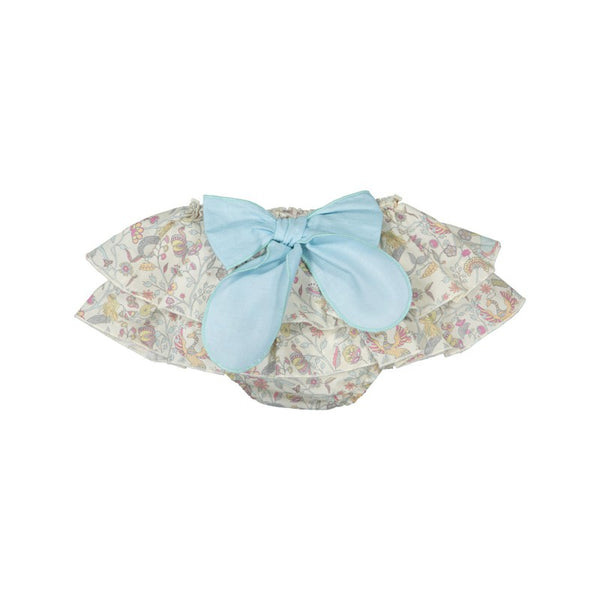 Floral bloomers with turquoise bow